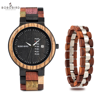 BOBO BIRD Men Watch Bracelet Set Week Display Date Japan Movement Quartz Watches erkek kol saati Accept Enggraving Drop Shipping Quartz Watches