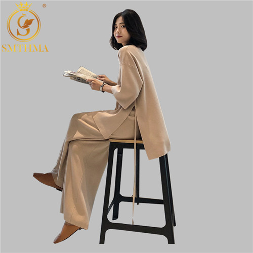 Women 2 Piece Pant Kintted Set 2019 Autumn Winter Runway Fashion Casual Pants Suit Top+Pants Knit Suit Set