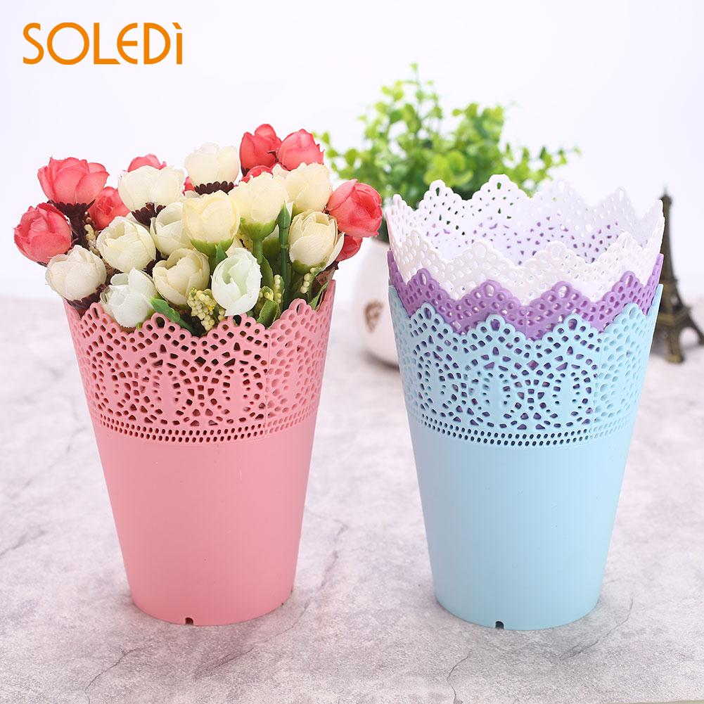 Flower Vase Pink/White/Blue/Purple Economic Pen Container Storage Holder Plastic Flower Pots Lace Plant Vase Pot Drop Shipping