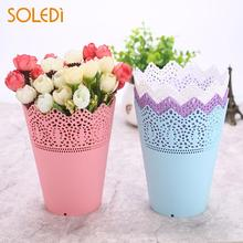 Buy pink plastic flower pots and get free shipping on aliexpress soledi flower pots flower vase plastic contemporary lace pinkwhitebluepurple desk mightylinksfo