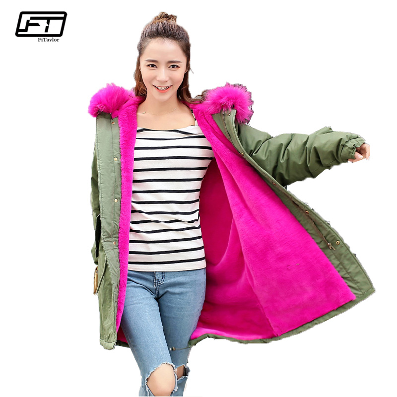 Fitaylor Big Fur Hooded Loose Winter Jacket Women 2017 New Plus Size Thick Parka Mujer Black Long Warm Cotton Coat Female fitaylor winter coat women jacket hooded thick casual cotton padded black parka mujer warm slim plus size female jacker