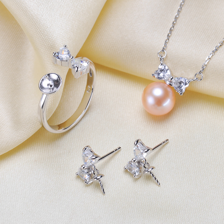 925 Silver Fashion Pearl Necklace Ring Earrings Set Mountings Findings Beautiful Jewelry Set Parts Fittings Women's Accessories