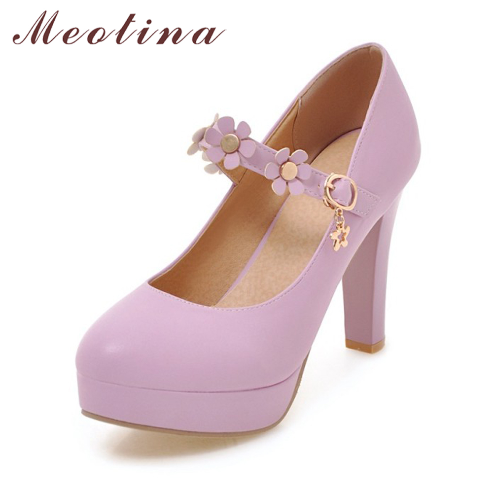 Wedding White Female Janes High Buckle Party 50Off Purple Heels Flower Strap meotina Platform In Shoes Mary Us23 61 Pumps Pink Women QexBrWECdo