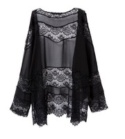 2017New Autumn Soft Women Lace Blouse Long Sleeve Solid Open Blouse Casual Female Large Size Shirt