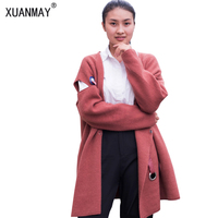 New Ladies Cardigan Sweater Coat High Quality Autumn Winter Long Section Thick Soft Large Size Cardigan