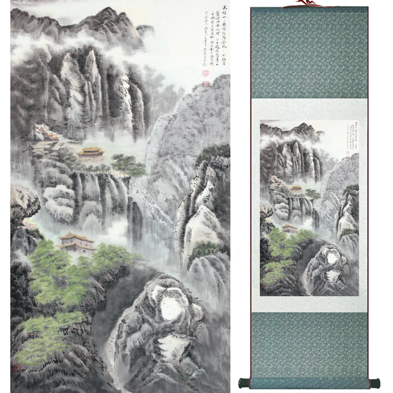 Mountain and river painting Home Office Decoration Chinese scroll painting mountain and River painting LTW2017112601