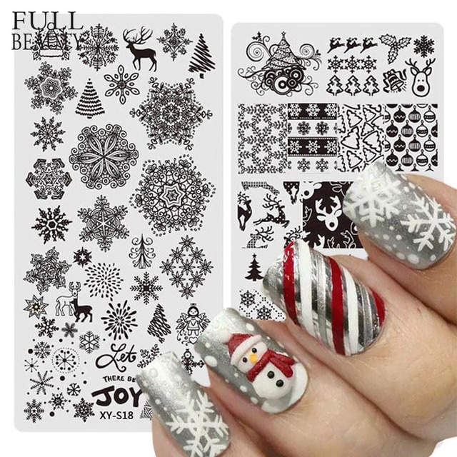 Full Beauty 1PCS Nail Stamp Stainless Steel Christmas Designs ...