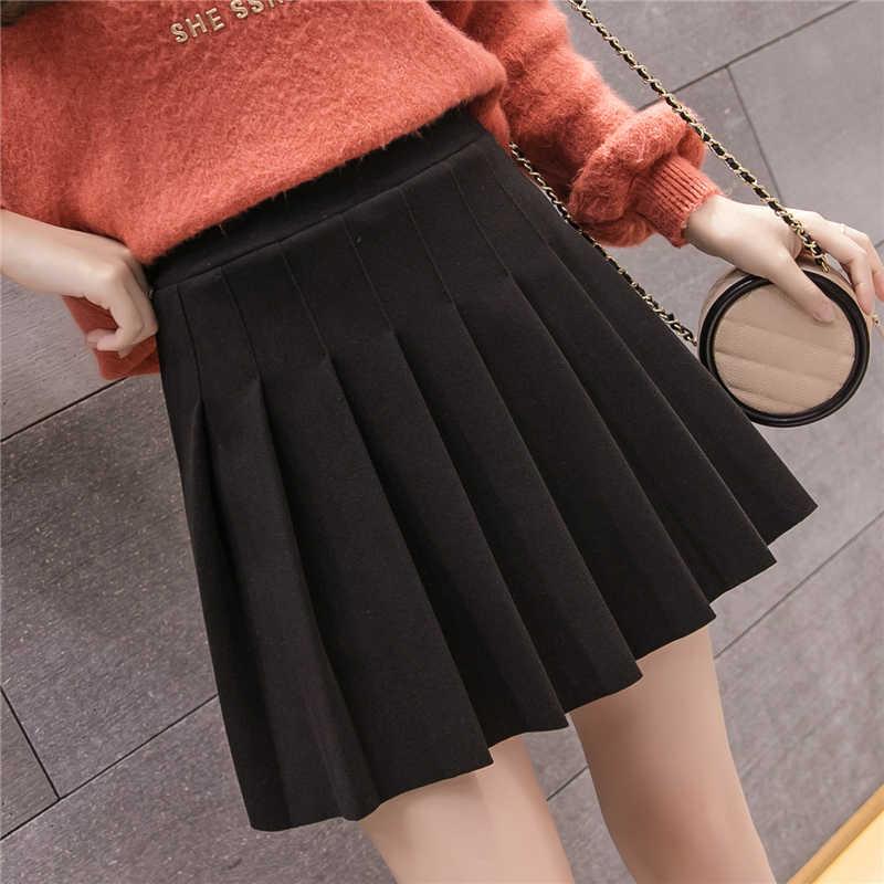 Новые осенние зимние шерстяные юбки с высокой талией трапециевидной формы плиссированные мини-юбки корейский консервативный стиль женские юбки серый/черный