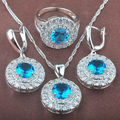 2016 Fashion Blue White  Zircon Women's Stamped  925 Silver Jewelry Sets Necklace Pendant Earrings Rings Free Shipping TZ032