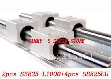 Free Shipping 2pcs SBR25-1000mm Linear Bearing Rails + 4pcs SBR25UU Bearing Locks CNC X Y Z free shipping 2 pcs sbr25 1000mm linear bearing supported rails 4 pcs sbr25uu bearing blocks sbr25 length 1000mm for cnc parts