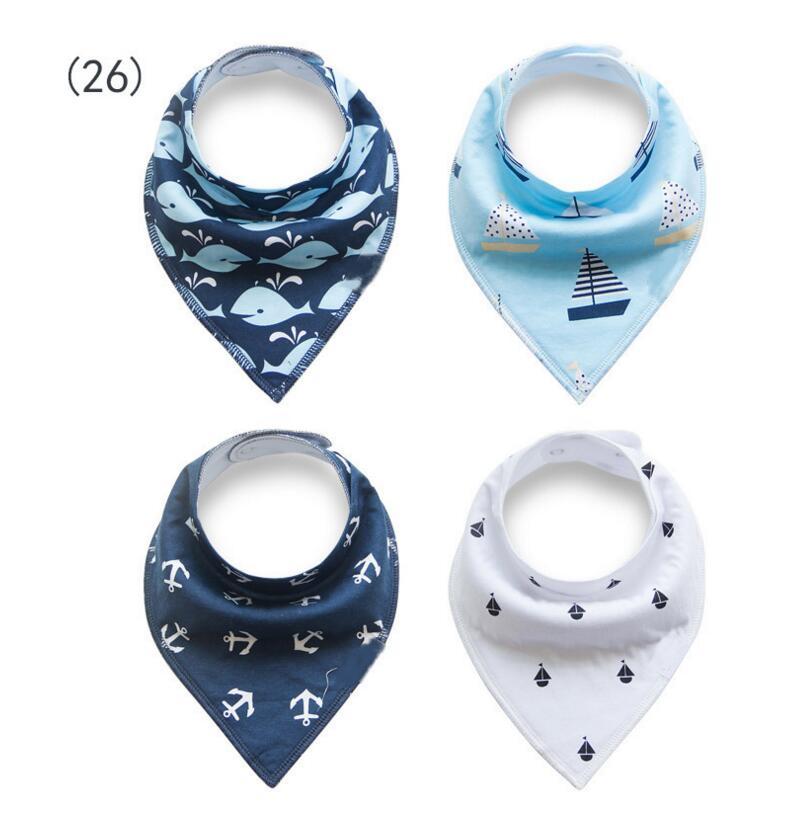 Let's Make Baby Bibs Printing Wholesale Soft Cotton 40pc Stripe Navy Bandana Bib Lovely Fox Scarf Baby Teether