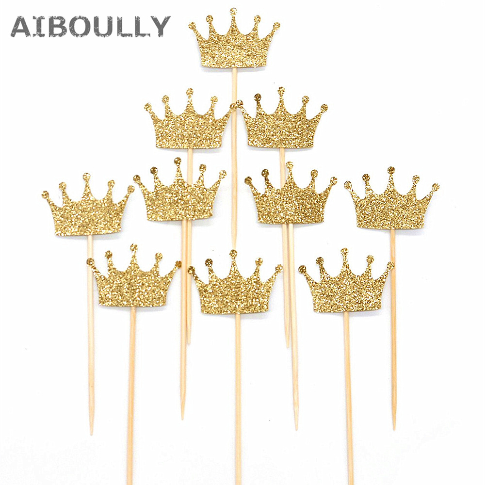 20pcs Glitter Paper crown Cup Cake Toppers Twinkle Cake Decoration wedding baby shower Party Cupcake Toppers celebration favors