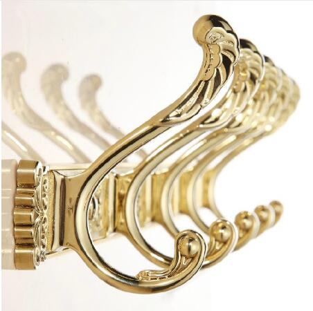 Carving Gold Plate Wall Mount Clothes And Hat Hook 4-8 Row Vintage Elegant Hook Bathroom Accessories Free Shipping Robe Hanger fixmee 50pcs white plastic invisible wall mount photo picture frame nail hook hanger