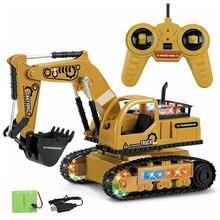 4Ch Моделирование Rc экскаватор игрушки с музыкой и светильник детские мальчики игрушки для грузовых автомобилей Rc подарки Rc инженерный автомобиль трактор игрушка