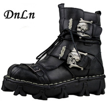 цены Gothic Fashion Mens Skull Boots Martins Shoes For Men Metal Skeleton Warm Ankle Shoes Man Oxfords ND50