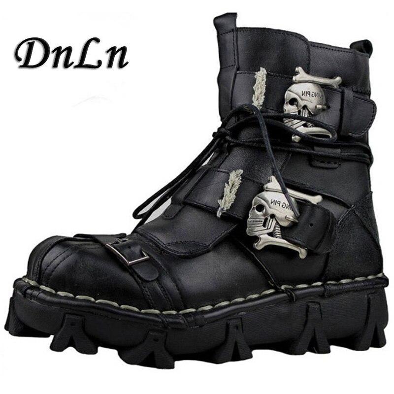 Gothic moda mężczyzna czaszki buty Martins buty dla mężczyzn metalowy szkielet ciepłe buty do kostki męskie oksfordzie ND50 w Buty motocyklowe od Buty na  Grupa 1