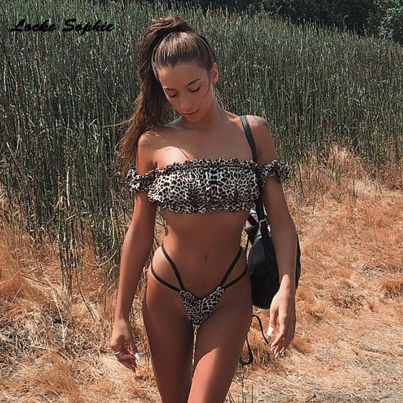 2piece set womens Sexy tops and shorts 2019 Summer cotton Leopard Splicing elastic super bikini suits set ladies suit twinset in Women 39 s Sets from Women 39 s Clothing