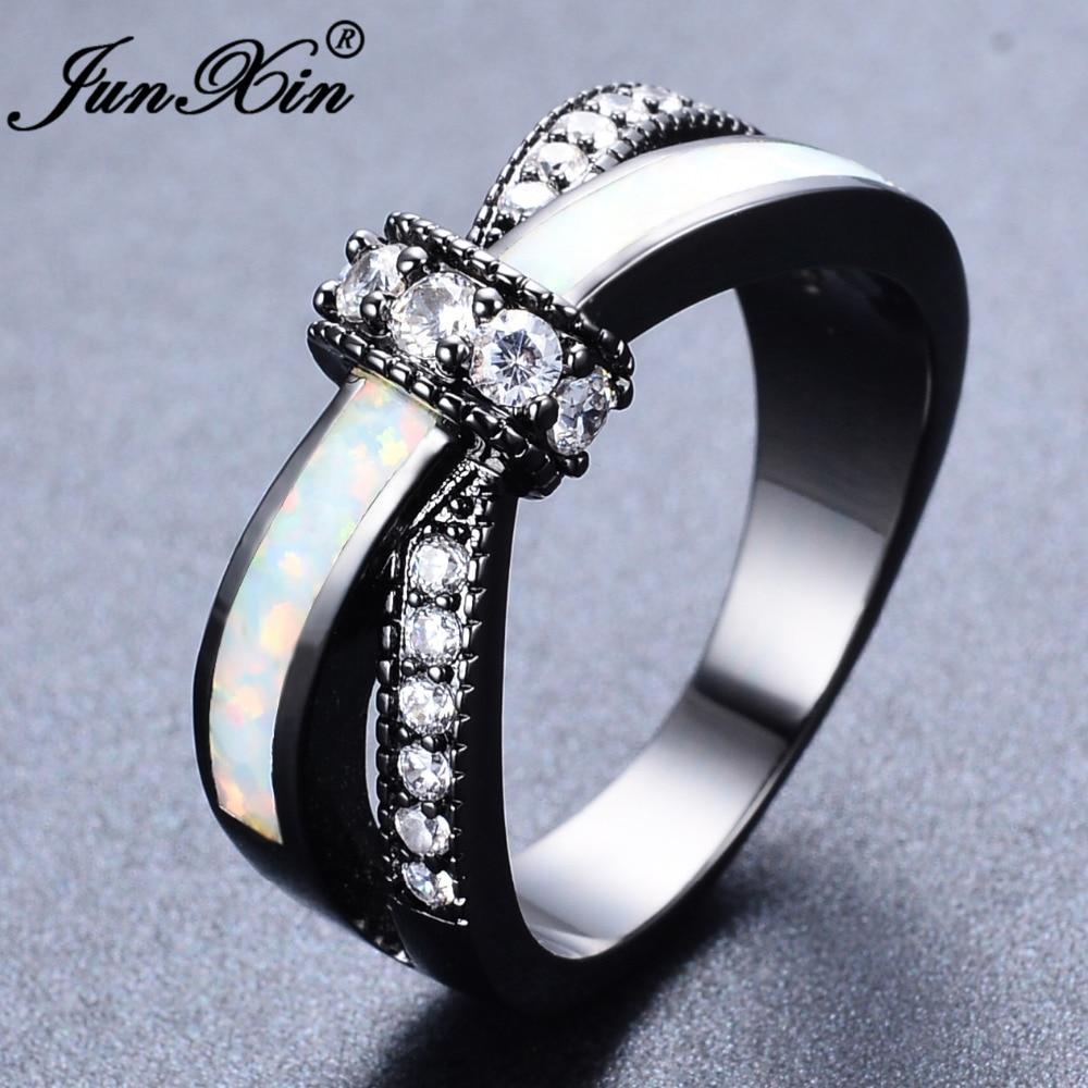 JUNXIN Mystic Rainbow Fire Opal Ringe For Kvinder Lady Black Gold Filled Wedding Engagement Kærlighed Ring Anel Valentinsdag