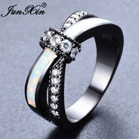 Junxin mystic rainbow fire opal rings for women lady black gold filled wedding party engagement love.jpg 200x200