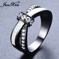Junxin mystic rainbow fire opal rings for women lady black gold filled wedding party engagement love.jpg 250x250