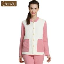 Qianxiu Winter Warm Women Pajamas Sets Cotton Long Sleeve Women Pyjama Pijama Lounge Tops & Bottoms For Women 1560