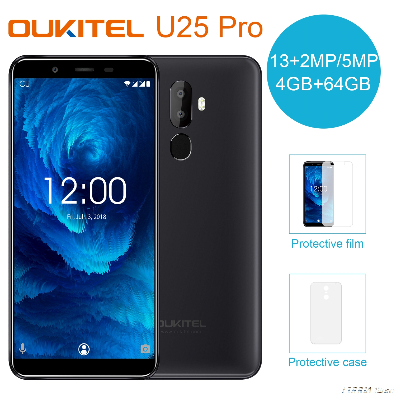 Oukitel U25 Pro 5.5 64 4 Polegada Android 8.1 GB de RAM GB ROM Moblie Telefone MTK6570T Octa Núcleo telefones celulares 3200mAh Tipo-C 4G de Smartphones