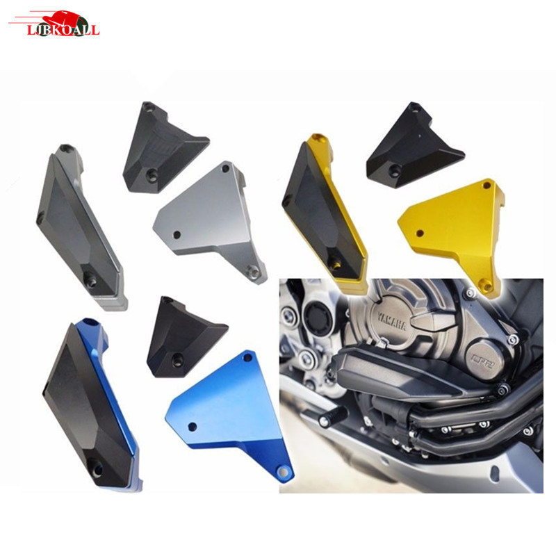 1 Set CNC Aluminum Motorcycle Engine Slider Case Guard Cover Protector For YAMAHA MT-07 FZ-07 FZ07 MT07 MT 07 2014-2016 New for yamaha mt 07 mt 07 fz07 mt07 2014 2015 2016 accessories coolant recovery tank shielding cover high quality cnc aluminum