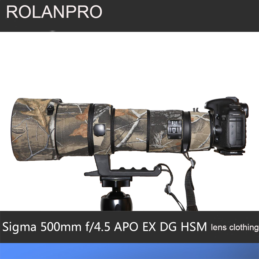 ROLANPRO Lens Camouflage Rain Cover for Sigma APO 500mm f/4.5 EX DG HSM Lens Protective Case Guns Clothing SLR Cotton Clothing new sigma af 50 500mm f 4 5 6 3 dg os hsm apo lens for nikon