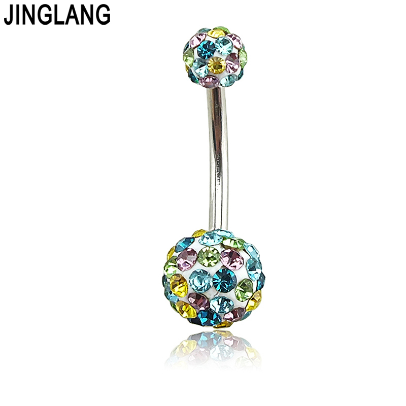 Belly Piercing Surgical Steel Belly Navel Button Ringar body piercing smycken Partihandel 14G kirurgiskt stål med dubbelkristall