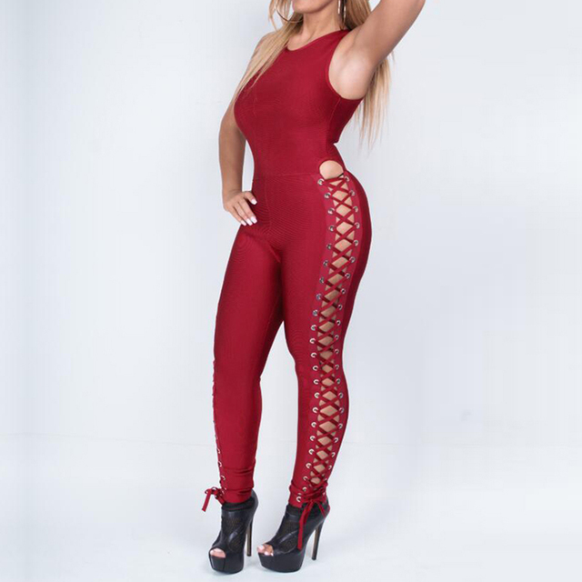 Celebrity Runway Party Jumpsuits For Women Black Sleeveless Hollow Out Rompers Jumpsuit Sexy Bodycon Bodysuit 4