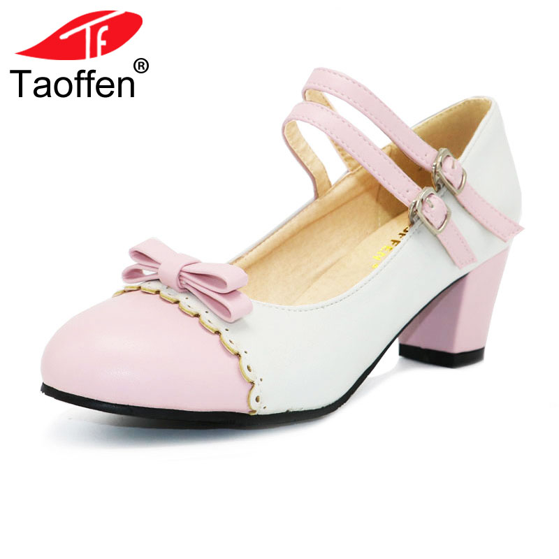 TAOFFEN Size 31-48 Women Square Heel Shoes Fashion Mix Colors Bow Shoes Women's Pumps Lady Round Toe Ankle Strap Heels Footwear taoffen size 32 48 sexy women bowtie round toe high heel shoes women ankle strap thick heels pumps party dress women footwears