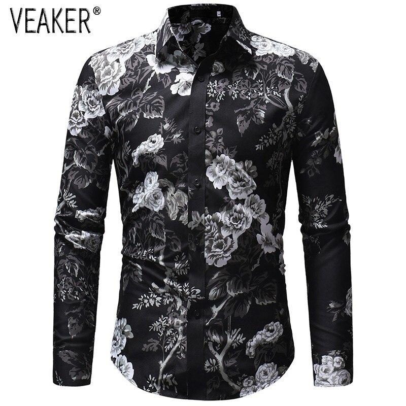 2019 Autumn New Men's Floral Printed Shirt Male Long Sleeve 3D Print Long Sleeve Shirt Men Slim Fit Flower Shirt Tops M-3XL
