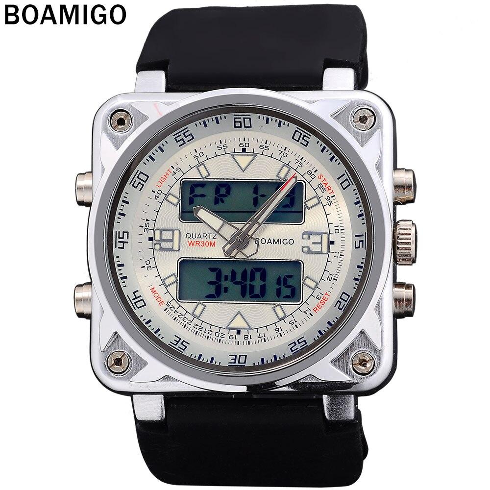 BOAMIGO dual display watches for men sports military watches Dual Time Quartz Analog Digital LED rubber