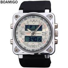 BOAMIGO double affichage montres pour hommes sport militaire montres Dual Time Quartz Analogique Numérique LED bracelet en caoutchouc montres F518