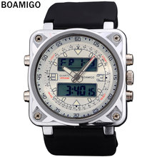 BOAMIGO dual display watches for men sports military watches Dual Time Quartz Analog Digital LED rubber strap wristwatches F518