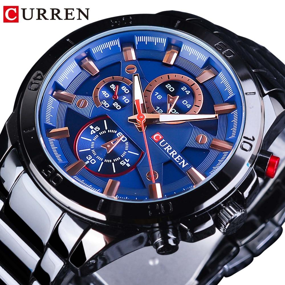 CURREN Blue Fashion Dial 2018 Design Men Military Full Black Steel Bracelet For Men Quartz Sport Watches Waterproof Clock Men