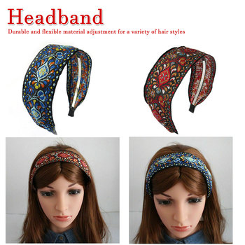 Bohemian Embroider Flowers Headband For Women Girls Ethnic Embroidered Hairbands Ethnic Pattern Wide Turban