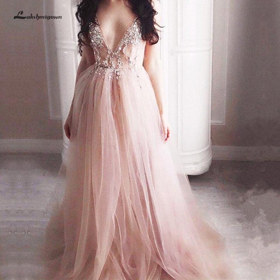Lakshmigown Plus Size   Dress   Party Long Sexy Women Evening Gowns 2019 Vestidos Largos Beading Backless   Prom     Dresses   Side Split