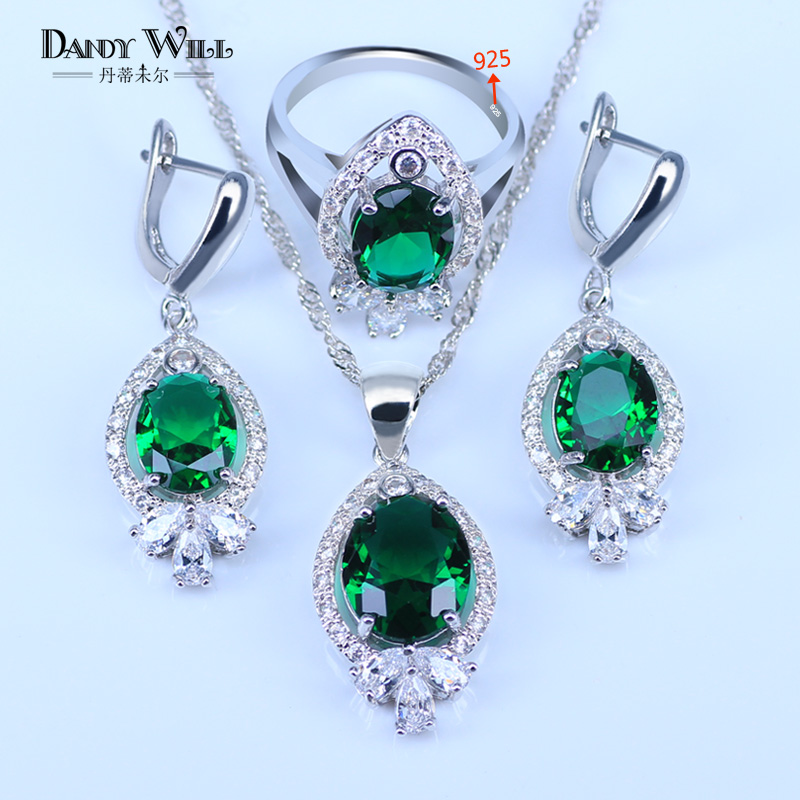 Russian Simple Style Green Stone White Crystal 925 Logo Silver Color Jewelry Sets For Women Best Present pendant Drop Earrings