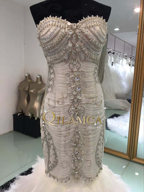 1fe9236ced US $365.07 |Real Photos bling crystal beadeds luxury wedding dress mermaid  long tail corset lace up bridal gown vestido de noiva-in Wedding Dresses ...