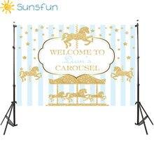 Sunsfun 7x5ft 비닐 사진 배경 회전 목마 유니콘 풍선 신생아 생일 파티 사용자 정의 사진 배경 220x150cm