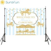 Sunsfun 7x5ftไวนิลถ่ายภาพพื้นหลังCarousel UnicornบอลลูนทารกแรกเกิดวันเกิดParty Customภาพพื้นหลัง220x150cm