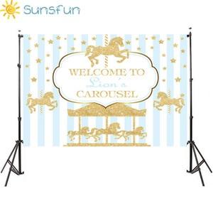 Image 1 - Sunsfun 7x5ft ויניל צילום רקע קרוסלת Unicorn בלון יילוד יום הולדת מסיבת מותאם אישית תמונה רקע 220x150cm