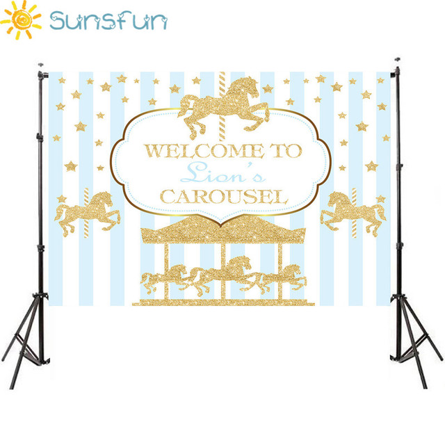 Sunsfun 7x5ft ויניל צילום רקע קרוסלת Unicorn בלון יילוד יום הולדת מסיבת מותאם אישית תמונה רקע 220x150cm