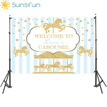 Sunsfun 7x5ft Vinyl Fotografie Achtergrond Carrousel Eenhoorn Ballon Pasgeboren Verjaardagsfeestje Custom Foto Achtergrond 220x150cm