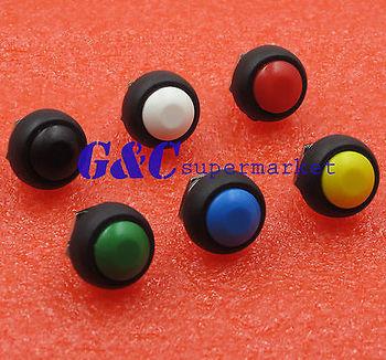 6Pcs  Push Button Round Switch Mini 12mm Waterproof Momentary ON/OFF