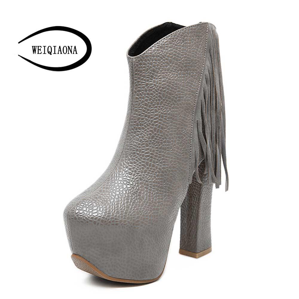 Fashion Women Boots fringe High Heels Ankle Boots Platform Shoes Women Shoes Autumn Winter Botas  Size 30-48