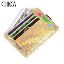 CUIKCA New Credit Card & ID Holders Flash Sequins PU Leather Slim Short Women Wallet Purse License Card Case Card & ID Holders