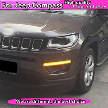 Car Styling For Jeep Compass 2017 2018 yellow turn Signal Light style+Dynamic turn signal LED car DRL daytime running light - DISCOUNT ITEM  20% OFF All Category