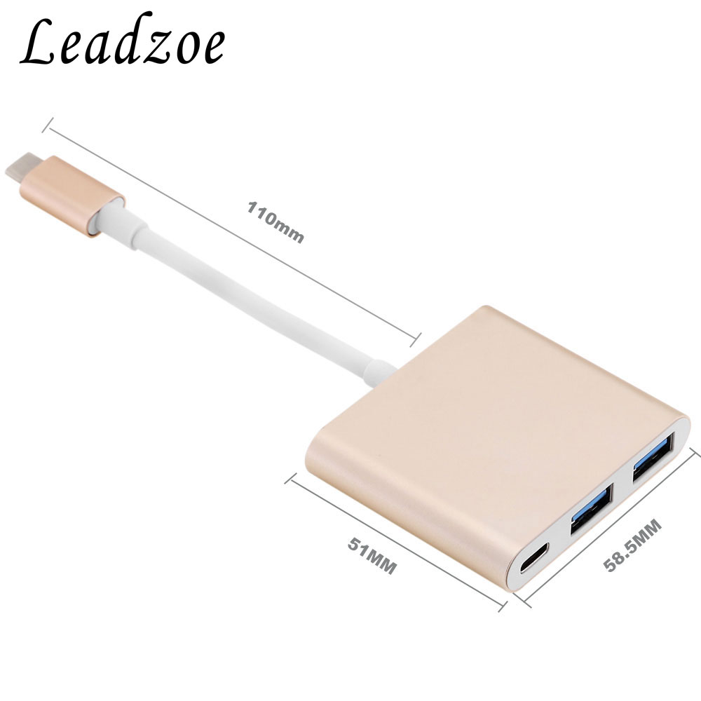 Leadzoe USB 3.1 Type C HUB Aluminum alloy and USB 3.0 Hub with 1 port type C PD hub Charging For Macbook, Chromebook